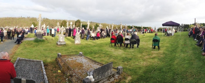 Panoramic view of evening mass in Clonfert