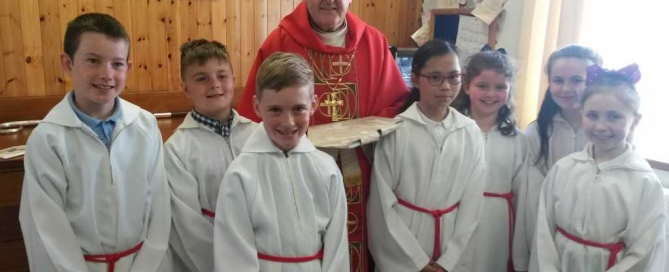 Bishp Cream with our Altar Servers